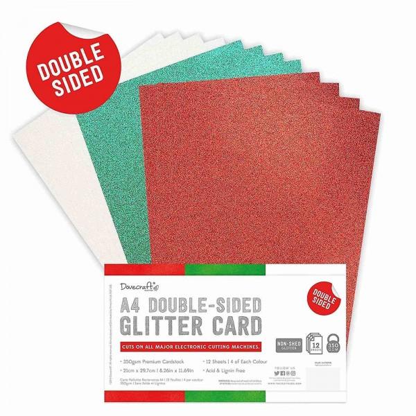 Double Sided Glitter Cardstock Festive 12 ark