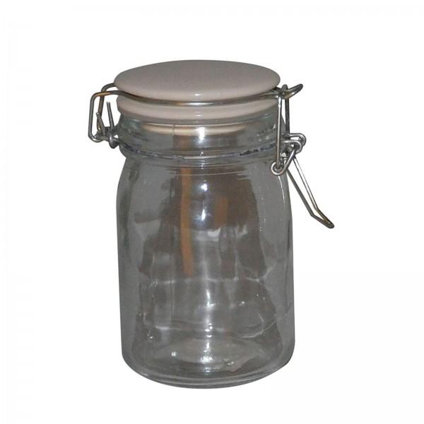 Glas med patentlåg i porcelæn